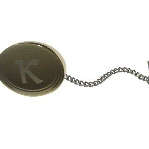 Gold Toned Etched Oval Greek Letter Kappa Tie Tack